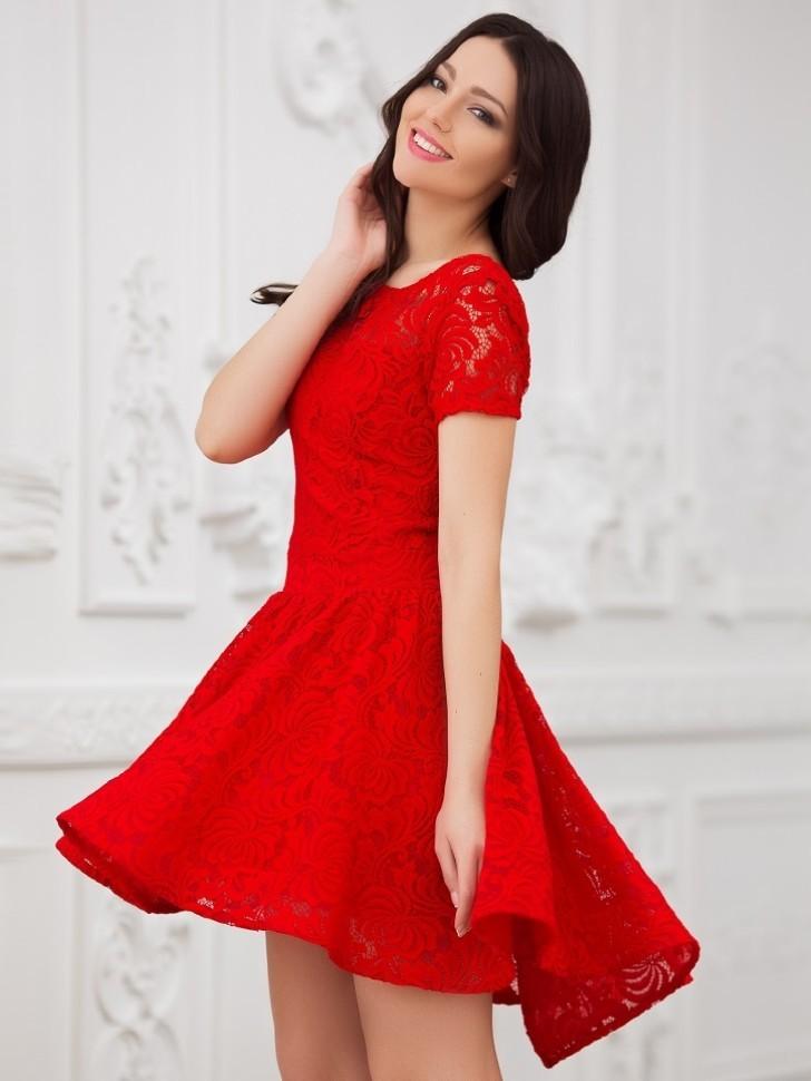 81a984aa028 Купить кружевное платье с пышной юбкой солнце eva 5231 красное в ...