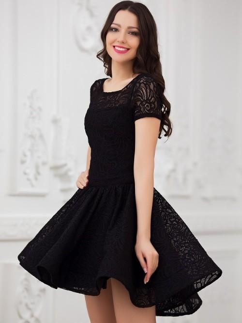 866d5714e4b Кружевное платье с пышной юбкой солнце Eva 5231 чёрное - Кружевное платье с  пышной юбкой солнце
