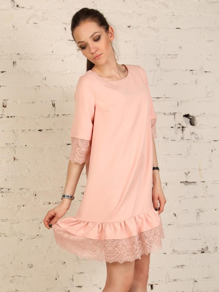 2bdac7a55d7 Купить прямое платье короткое с кружевом epicode irina розовое в ...