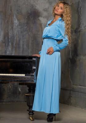 a5f90756695 Длинное повседневное платье с воротником стойка Sk House 2140 голубое
