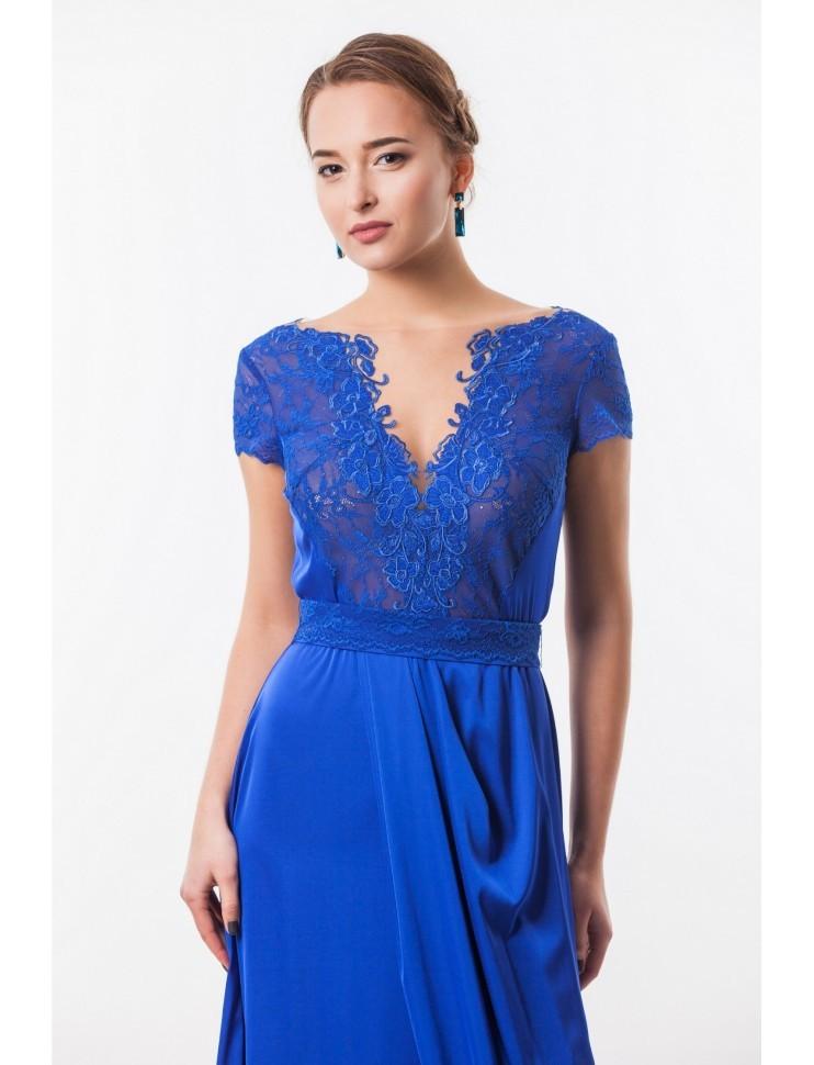 5c2fe3636886348 Прозрачное платье в пол с кружевом и разрезом Seam 4660 синее - Прозрачное  платье в пол