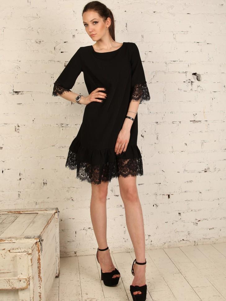 c4c51e2174e Купить прямое платье короткое с кружевом epicode irina чёрное в ...
