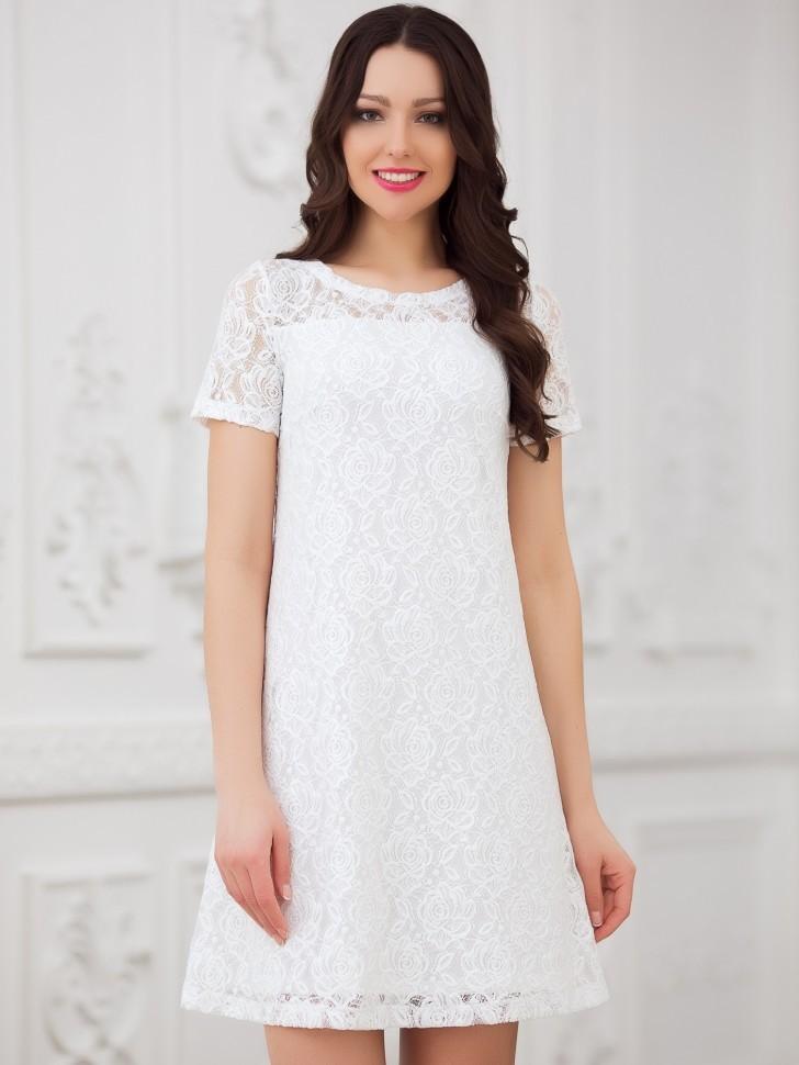 87f9492db72 Купить кружевное платье трапеция eva 5240 белое в интернет магазине ...