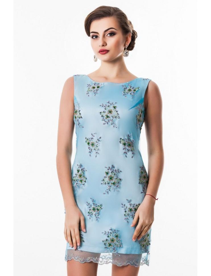 c35ee9ff113 Прямое вечернее платье без рукавов со стразами Seam 4680 голубое - Прямое  вечернее платье без рукавов