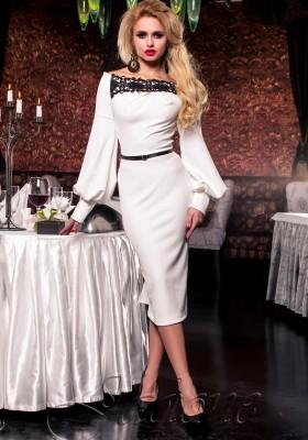 4c47439ee2a Платье футляр с длинным рукавом JDN3 молочное