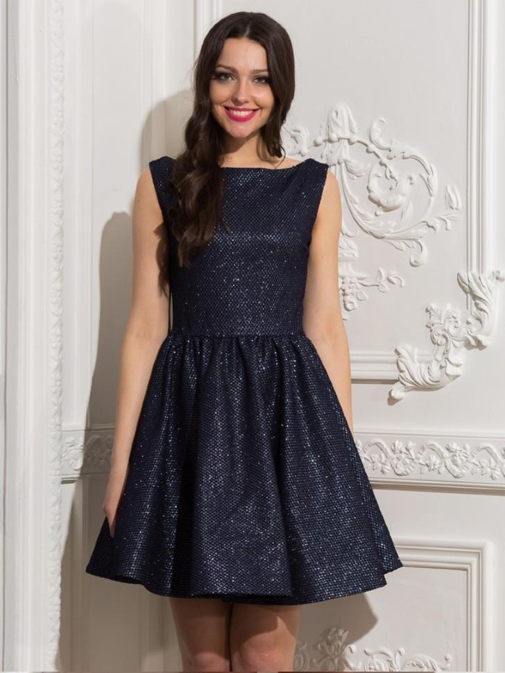 bd722a08e8c Купить платье без рукавов с юбкой солнце eva 5252 т-синее в интернет ...