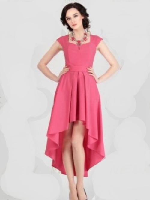 d5b0b8b1522 Купить платье со шлейфом и без рукавов 5848 розовое в интернет ...