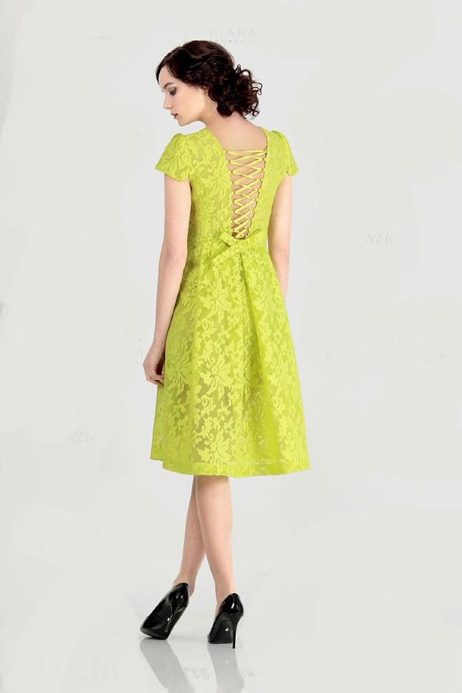 56fe35ea255 Кружевное платье с открытой спиной и юбкой солнце 5864 жёлтое - Кружевное  платье с открытой спиной