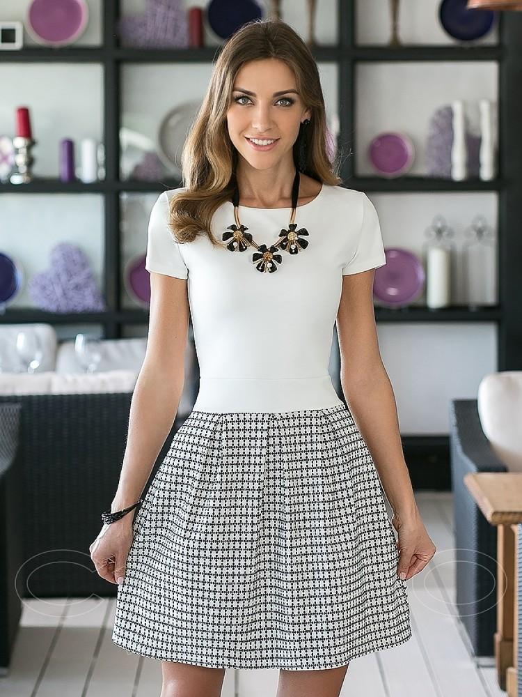 a36dc933cba3 Купить платье cs 665 белое, юбка с узором в интернет магазине ...