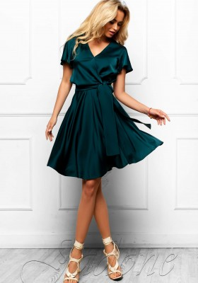 f6ae8200e53 Платье с юбкой солнце-клеш JDN6 изумрудное