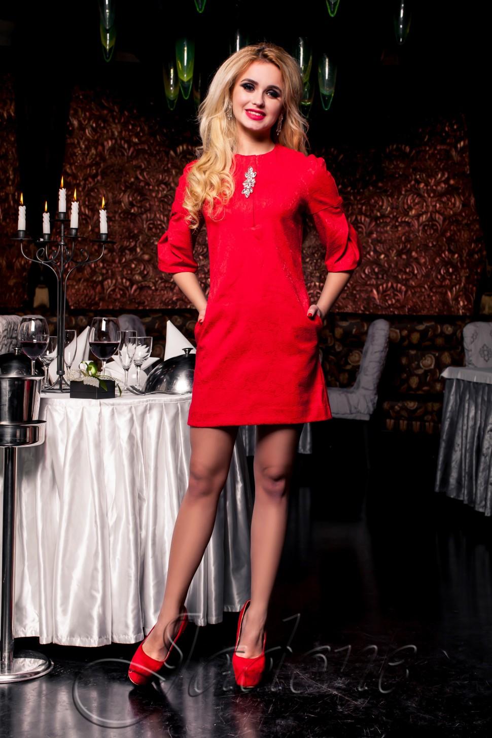 6b18b9cd4f7 Купить прямое платье с карманами jdn7 красное в интернет магазине ...